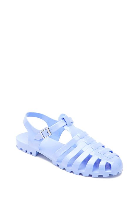 jelly sandals forever 21 forever 21 caged jelly sandals in blue lyst