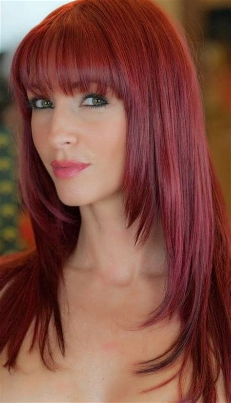 images of long straight hair cut with bangs and patial shag long straight bangs fringe with layers red hair hair