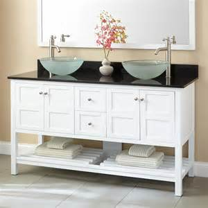 White Vanity With Vessel Sink 60 Quot Everett Vessel Sink Vanity White Bathroom