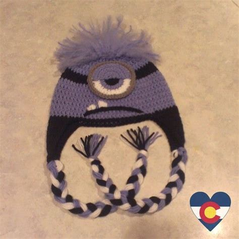 purple minion hat fleece crochet despicable me evil purple minion hat crochet