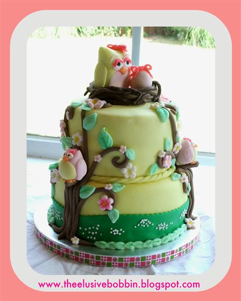 Baby Shower Owl Cake by The Elusive Bobbin Owl Themed Baby Shower Cake