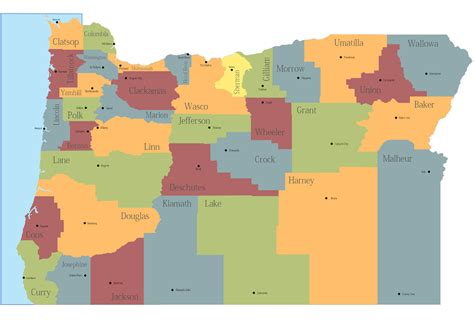 oregon map of counties map of oregon state map of usa