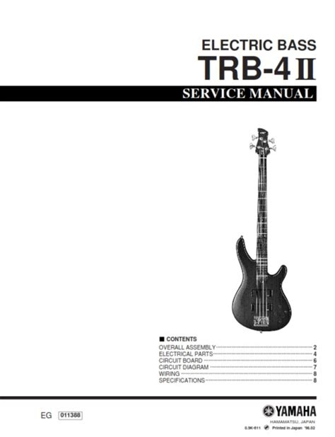 yamaha trb 4ii trb4ii trb4 electric bass service