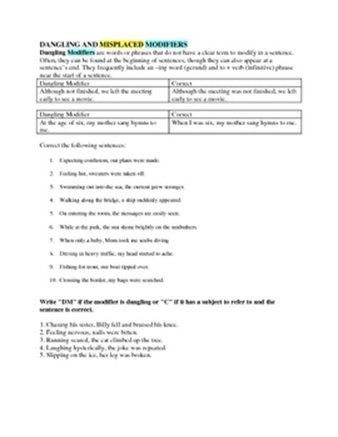 Dangling And Misplaced Modifiers Worksheet by Dangling And Misplaced Modifiers Worksheet No Key Included By Jillgee84