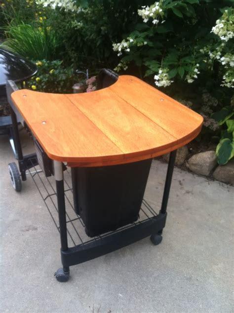weber kettle grill table weber crate barrel performer wooden table mod