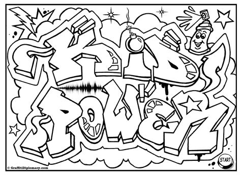 Kid Power Free Graffiti Coloring Page Free Printable Coloring Pages Of Graffiti