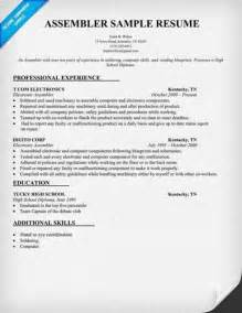 Electronic Assembler Resume Sle by Electronic Assembler Resume Best Sle Resume