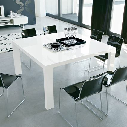 modern square dining table  glossy white