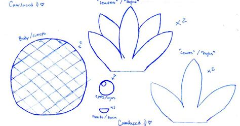 printable pineapple leaves pineapple plush template by camilaccd on deviantart