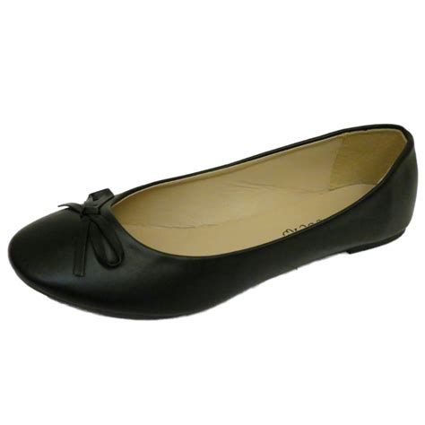 flat black shoe flat black slip on ballerina pumps dolly comfy work