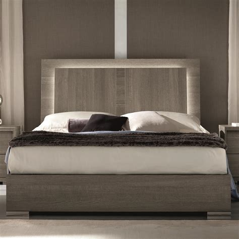 Alf Italia Tivoli King Weathered Grey Bed With Built In Lights Bed