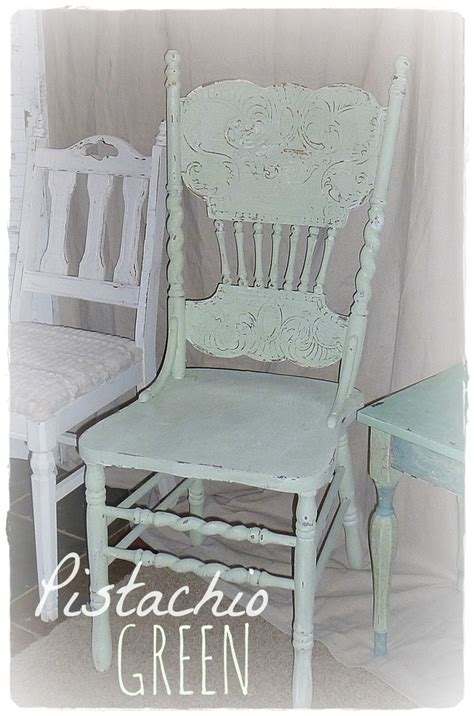 available vintage pistachio green pressed back chair