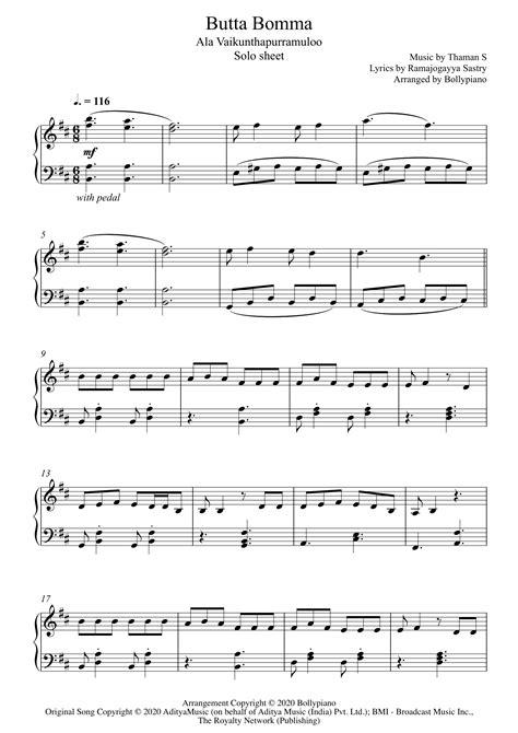 Butta Bomma Piano Notes | Ala Vaikunthapurramuloo | Solo