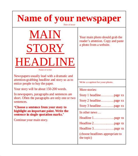 Free Newspaper Template 10 Blank Google Docs Word Template Section Article Template Word