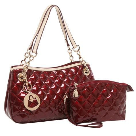 Quilted Purse by Mg Collection Elise 2 In 1 Stylish Quilted Faux Patent
