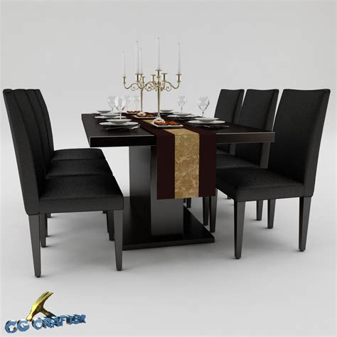 Dining Table 3d Model Dining Table Set 01 3d Model Max Obj 3ds Fbx Cgtrader