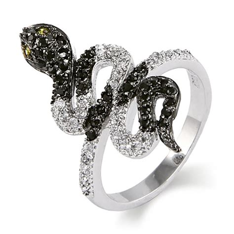 black and white cz king snake ring clearance 6 ebay