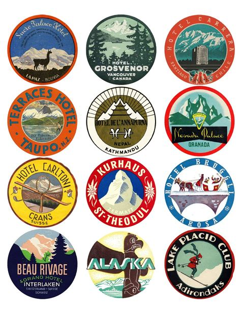Naco Label Sticker Pack Snow 12 vintage luggage labels snow and great outdoors stickers