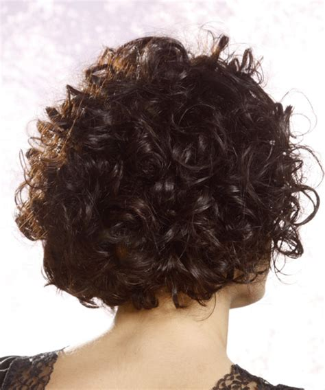 Short Curly Casual Hairstyle with Asymmetrical Bangs   Black
