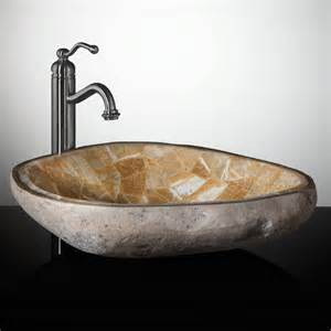 bathroom vessel mosaic natural river stone vessel sink honey onyx