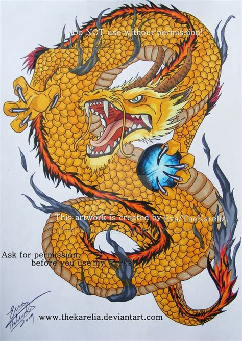 golden dragon tattoo golden by thekarelia on deviantart
