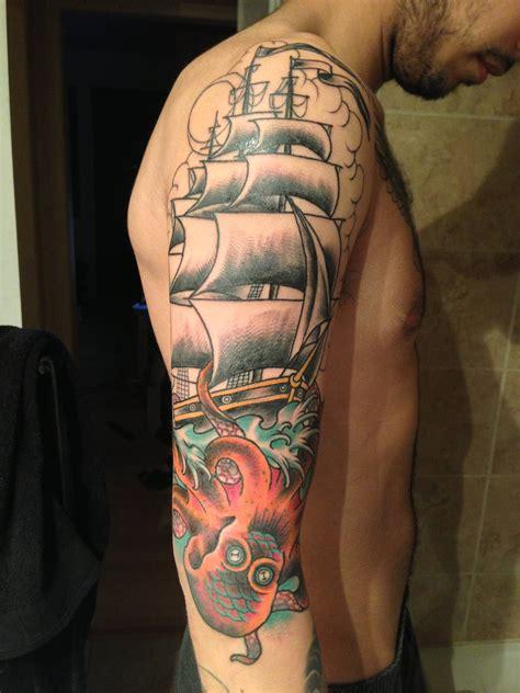 kraken tattoo sleeve kraken or octopus nautical attack