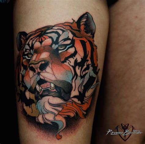 neo traditional tattoos of and animals created