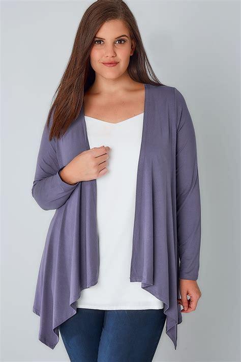 dusty purple edge to edge waterfall jersey cardigan plus