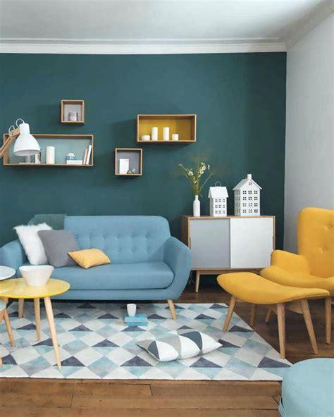 Salon Gris Bleu Jaune by Deco Salon Scandinave Gris Jaune