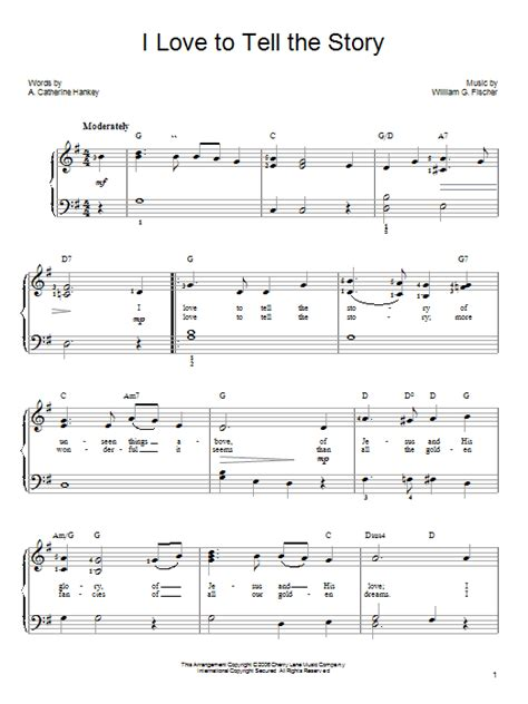 printable lyrics to go tell it on the mountain i love to tell the story sheet music direct