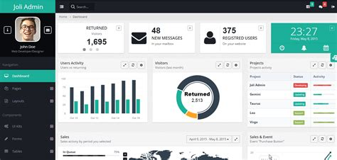 bootstrap themes free profile 10 free bootstrap admin dashboard templates and themes