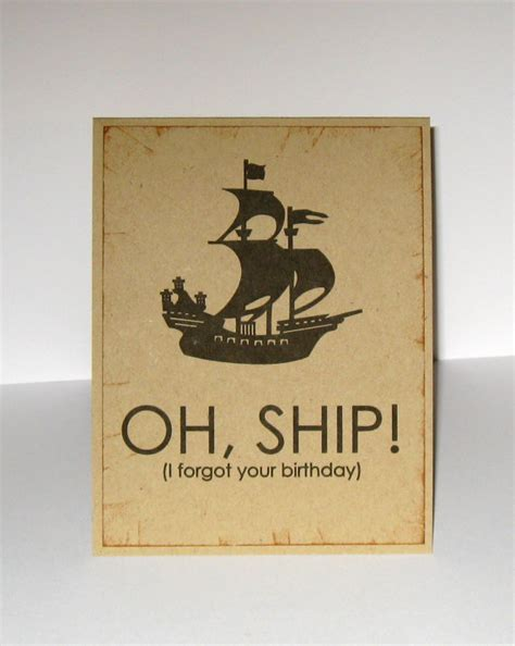 Handmade Belated Birthday Cards - items similar to oh ship belated birthday card