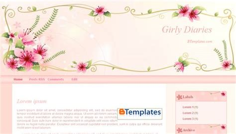 Girly Diaries Blogger Template Btemplates Girly Templates