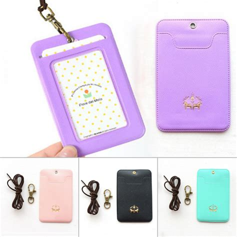 Name Card Holder Istana name badge card business card holder pu leather passport card cover with buckle nack