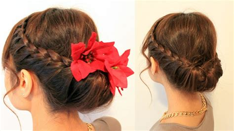 hairstyles updo youtube holiday braided updo hairstyle for medium long hair