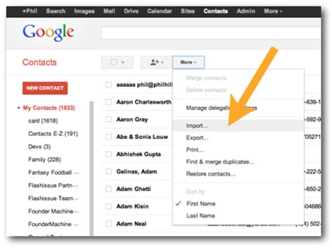 how to upload a mailing list to gmail google contacts