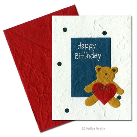 greeting card supplies for handmade mulberry greeting card happy birthday teddy 163