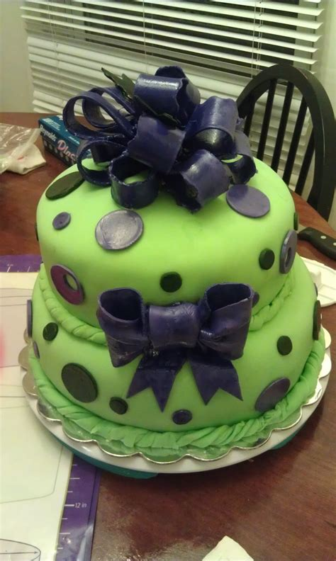Green Baby Shower Cake by Green And Purple Baby Shower Cake Cakecentral