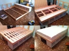 Diy Platform Bed With Storage Underneath Ikea Hack The Bed Storage Diy Home Decor Crafts