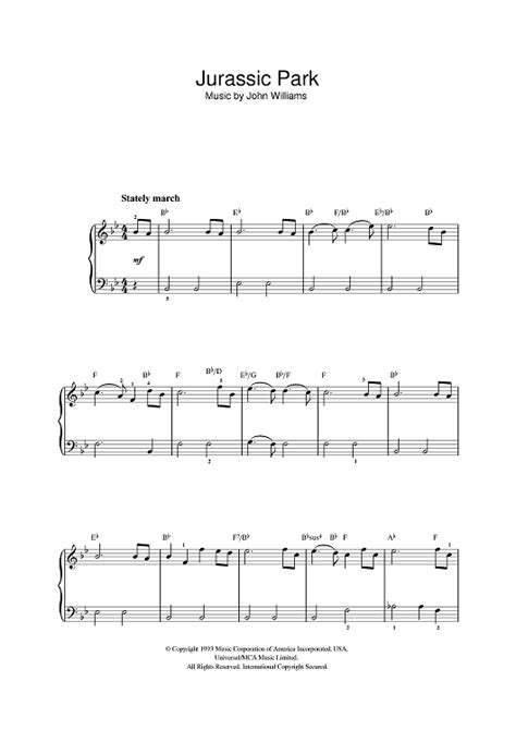 theme music to jurassic park theme from jurassic park sheet music for piano and more