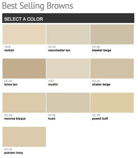 best selling popular shades of brown taupe paint colors from benjamin walls