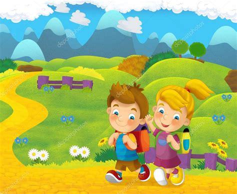 imagenes de jardines de niños animados escena de dibujos animados naturaleza con ni 241 os en el