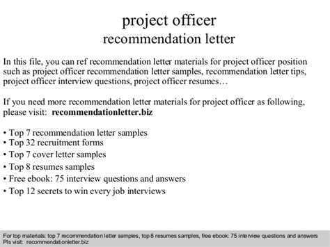 Recommendation Letter No Response Project Officer Recommendation Letter