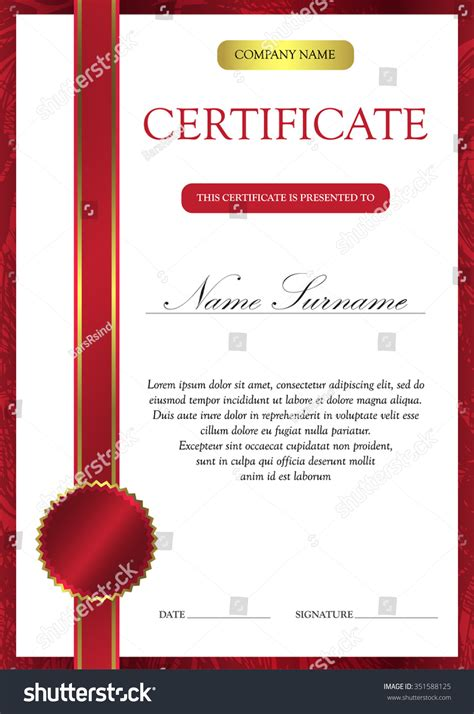 certificate design red vertical red certificate diploma template vintage stock