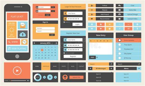ui design background color flat ui design kit for smart phone stock vector