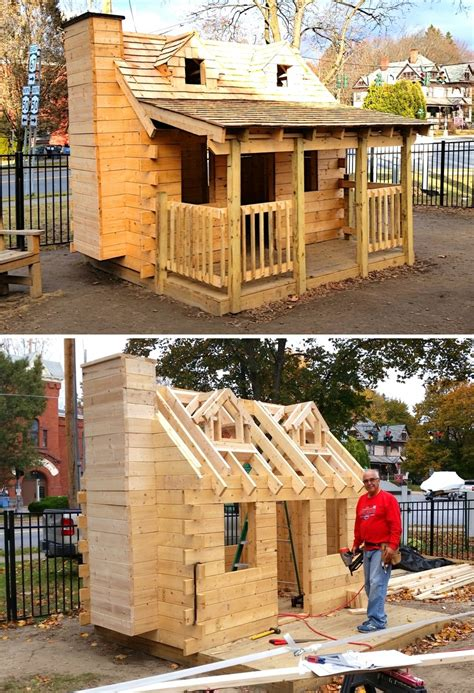 log cabin playhouse plan ft wood plan  kids