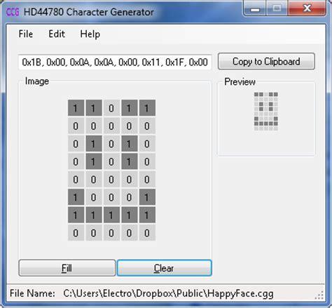 eshortcircuit hd44780 custom character generator update