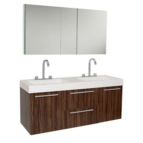 double sink cabinets bathroom 54 25 inch walnut modern double sink bathroom vanity with
