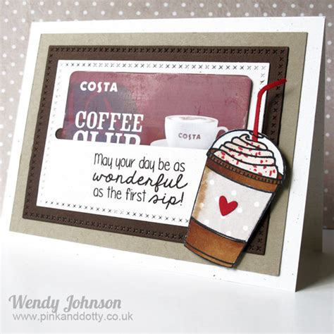 Coffee Club Gift Card - pink and dotty coffee gift card holder