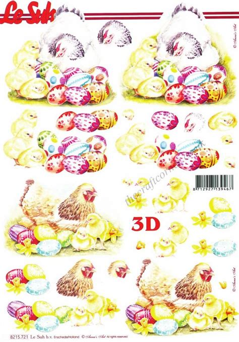 Easter Decoupage - fluffy yellow chicken with easter eggs 3d